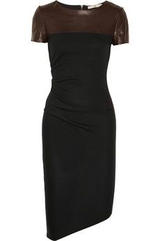 halston heritage leather and jersey dress. this one would suit me =)