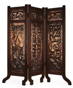 ENGLISH ARTS & CRAFTS  COPPER THREE FOLD FIRE SCREEN, CIRCA 1910  within moulded beech frame, each fold comprised of two panels, each repoussé decorated with stylised plant forms  each fold 95cm x 26cm