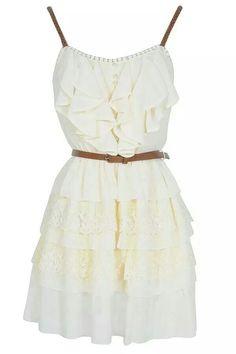 White ruffled dress with belt ♡