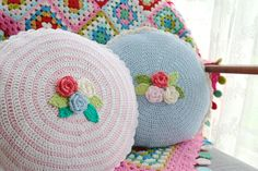 A posy of pretty round cushions with the sweetest little flowers and stripes. #stylecraftblogstars