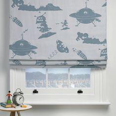 Blue Alien Fabric | Alien Fabric | PaperBoy Fabric | Boys Curtain Material