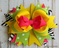 Girls hair bows Boutique hair bow Yellow Pink Green Black Zebra Stacked hair bow Over the top Bows