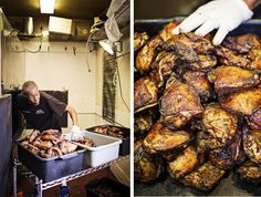Wings and chicken breasts come out of the smoker | Baltimore magazine Photo by Scott Suchman