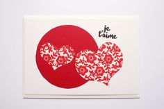 Je t'aime  Handcut & Handprinted Postcard by PaprikaPaperGoods