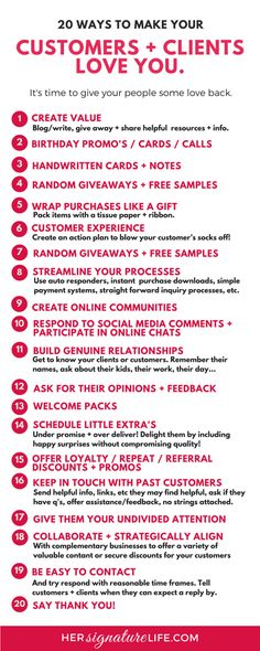 Simple, cost and time effective ideas to help thank, delight, and blow the socks off your clients and customers. Here are some suggestions that incorporate customer service, client gifts and extras, business systems and processes and people skills to create raving fans and loyal customers + clients. hersignaturelife.com