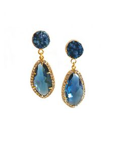 These are so pretty.  I bet they cost a lot.  But, I can dream.  Sapphire Opulent Druzy Earrings