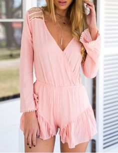Sexy Plunging Neck Long Sleeve Hollow Out Solid Color Women's RomperJumpsuits & Rompers | RoseGal.com