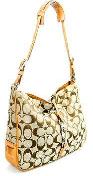 Coach Signature C Clip Canvas Hook Strap Leather Hand Shoulder Bag $101