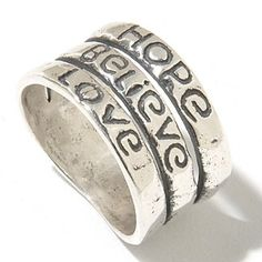 Passage to Israel Sterling Silver Inspirational Words Three-Row Ring