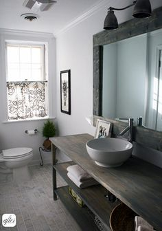 The sink space and mirror are beautiful...i wonder if having a dish-sink would be a pain or not. The part of this bathroom near the toilet is not anything special.