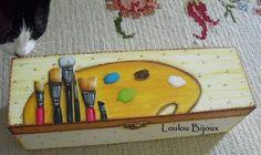 Caixa para guardar os pincéis - pintura acrílica