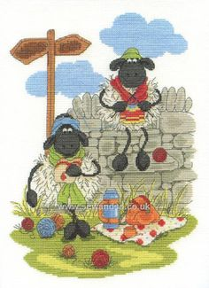 Lunching and Knitting Shabby Sheep Cross Stitch Kit by Bothy Threads
