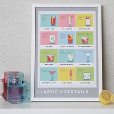 I've just found Cocktail Recipe Print. A cocktail print which is a great gift for those who love a good drink and a tasty cocktail and how to make it!. £14.95