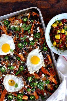 Loaded Sweet Potato Breakfast Nachos with Margarita Salsa Recipe | ¡HOLA! JALAPEÑO