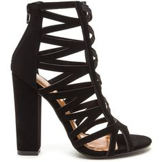 Caged Fighter Faux Nubuck Heels (135 PEN) ❤ liked on Polyvore featuring shoes, pumps, black, peep-toe shoes, wide heel pumps, chunky high heel pumps, black peep toe shoes and high heeled footwear