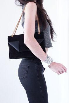 Sac-Saint-Laurent-Betty-Daim-Noir-Jean-Topshop Blog Mode