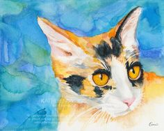 Cat Watercolor Calico Cat Art prints signed by artist animal art Christmas gift by KathleenWongArt on Etsy