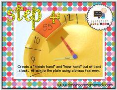 "Monday ""Make-and-Take"" Plate Clocks - Plus a lil' freebie! Teaching Clock, Teaching Tips, Teaching Math, Maths, Behavior System, Clock Craft, Go Math, Stacking Toys, Third Grade Math"