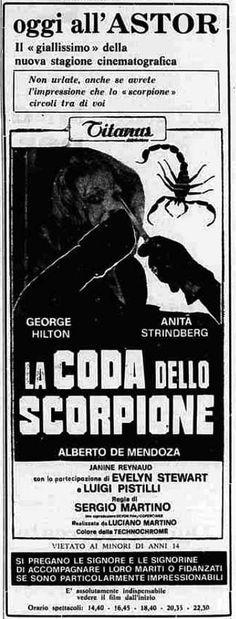 """""""La coda dello scorpione"""" (1971) di Sergio Martino, con George Hilton e Anita Strindberg. Italian release: August 26, 1971 #MoviePosters #AnitaStrindberg #ItalianHorror #ItalianGiallo"""