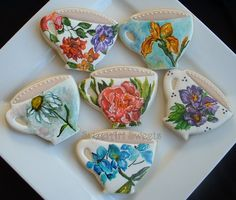 Teacup Cookies - Handpainted 'watercolor' flower cookies