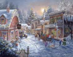 Browse for christmas scene posters and christmas scene wall art at FulcrumGallery. Christmas Scenery, Christmas Villages, Christmas Past, Christmas Pictures, Winter Christmas, Christmas Cross, Christmas Stuff, Christmas Greetings, Illustration Noel