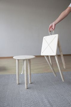 This unique stool design is more like a toy or a puppet but I love the way Lina Marie Koppen plays with different ideas in her desi. Nomadic Furniture, Bespoke Furniture, Furniture Design, Small Wooden Stool, Wooden Stools, Fold Up Stool, Funny Furniture, Designer Bar Stools, Multipurpose Furniture
