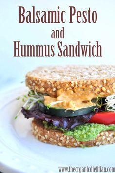 Balsamic Pesto and Hummus Sandwich: No Nitrates Here, clean, vegan - The Organic Dietitian