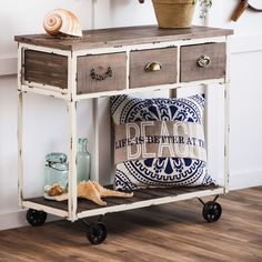 Evergreen Distressed Wooden Console Table With Wheels     eBay