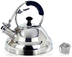 Tea Kettle - Surgical Whistling Stove Top Kettle Teapot with Layered Capsule Bottom, Silicone Handle, Mirror Finish, Quart - Tea Maker Infuser Strainer Included - Willow & Everett Surgical Stainless Steel Tea Kettle