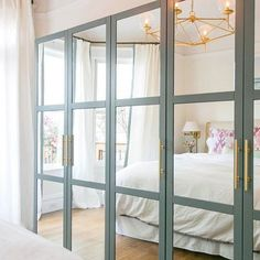 Ikea hack. Use a mirrored cabinet and add lattice wood painted to make it look like windows. Glue on the wood