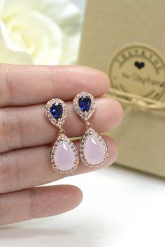 Blush rosa azul marino ROSE GOLD boda por TheMagnoliaJewelry