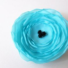 Fabric Poppy Pin Brooch  Light Blue by floresdelsur on Etsy, $6.00
