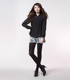 denim #floral print shorts from g.u. #japan #fashion #uniqlo