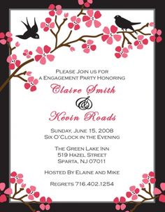 Engagement Invitation with Cherry Blossoms. Chic!