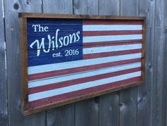 Personalized Wooden Flag / Barn Wood American Flag / Personalized Family Name Sign / Family Established Sign / Personalized Wedding Gift American Flag Pallet, American Flag Wreath, Pallet Flag, Wood Flag, Patriotic Crafts, Patriotic Decorations, Military Home Decor, Flags With Names, American Decor