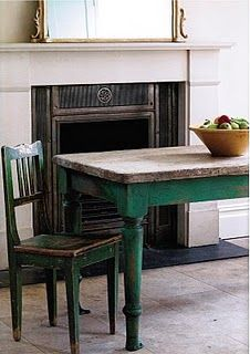 Rustic table painted in Antibes from the Chalk Paint® decorative paint by Annie Sloan range. Pinning for color.