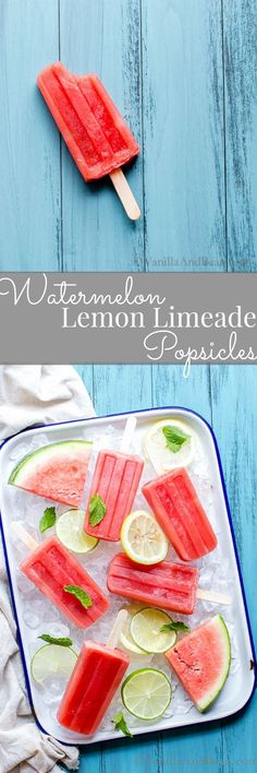 Watermelon Lemon Limeade Popsicles - A snap to pull together and oh so refreshing. Have these on the ready when the Summer days heat up and nothing else will do. Frozen Desserts, Frozen Treats, Vegan Desserts, Delicious Desserts, Vegan Recipes, Dessert Recipes, Cooking Recipes, Yummy Food, Snacks Recipes
