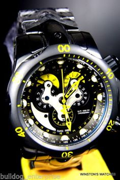 Men-Invicta-Reserve-Venom-Black-Stainless-Steel-Master-Calendar-Swiss-Watch-New