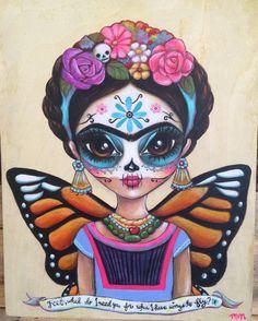 Frida kahlo art - frida mariposa frida kahlo inspired illustration butterfly whimsical art print by melissa victoria nebrida Frida E Diego, Frida Art, Catrina Tattoo, Arte Fashion, Original Art, Original Paintings, Day Of The Dead Art, Sugar Skull Art, Sugar Skulls