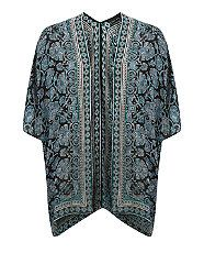 Black Floral Print Border V Back Kimono    New Look