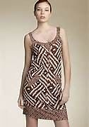 DIANE VON FURSTENBERG Dress Cookie Silk Jersey Sleeveless Sheath Geometric 12