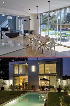 """#Bordeaux Majolice Atelier d'architecture """"La structure, très simple, est constituée de béton avec un remplissage de briques. Le désir des clients de posséder une maison contemporaine a conduit l'architecte à privilégier l'usage, pour les façades, des matériaux industriels, ici en l'occurrence l'aluminium, conjugué au bois afin d'obtenir un dialogue adapté au site, très boisé."""" Renovation Facade, Conduit, Architecture, Afin, Villas, Construction, Outdoor, Simple, Home Decor"""