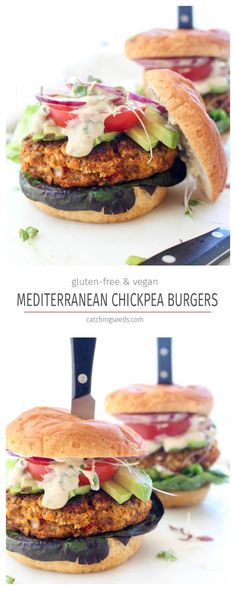 This burger recipe stands out from the crowd! So juicy, healthy, and packed with your favorite Mediterranean flavors. The perfect vegan and gluten-free barbeque entree. Vegan Gluten Free, Vegan Vegetarian, Vegetarian Recipes, Cooking Recipes, Healthy Recipes, Vegan Chickpea Burger, Vegetarian Barbecue, Fast Recipes, Veggie Burger Recipes