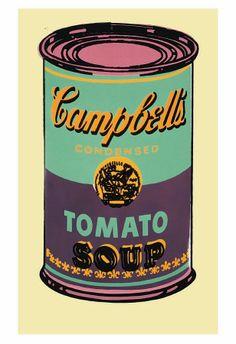 Warhol -Campbell's, lata de sopa, 1965, verde e roxa Impressão artística