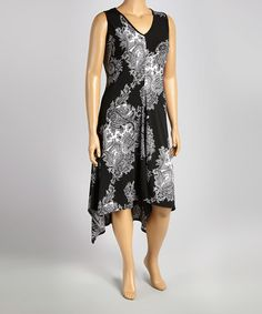 Look what I found on #zulily! Black & White Paisley V-Neck Sleeveless Dress - Plus by Tiana B #zulilyfinds