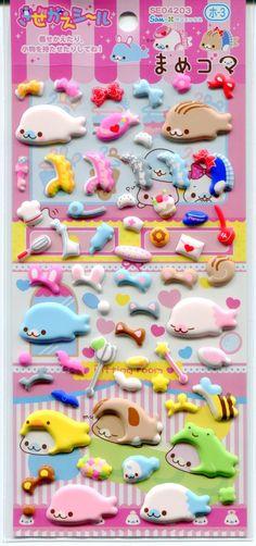 San-X Mamegoma Seal Changing Clothes Sponge Sticker Sheet #1 (I0862)