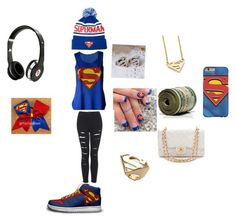 """Superman outfit"" by happynini ❤ liked on Polyvore featuring Forever 21, Topshop, Noir, Chanel and Beats by Dr. Dre"