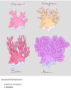 See more 'Pokemon Variants' images on Know Your Meme! Corsola Pokemon, Pokemon Breeds, Pokemon Fusion Art, Pokemon Fan Art, Cute Pokemon, Pokemon Cards, Original Pokemon, Cute Animal Drawings, Digimon
