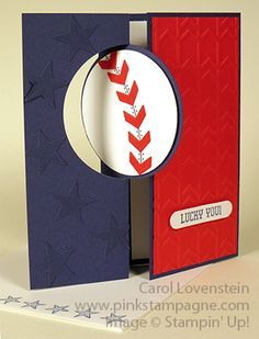 Baseball Circle Flip Card Front June Card Class (1 of 5) Card Idea Carol Lovenstein ~ Stampin' Up!