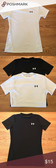 Bundle of 2 Youth Under Armour Fitted T-Shirts Bundle of 2 Youth Under Armour fitted short sleeve t-shirts, both size large. One white with black UA logo & the other black with white UA logo. Great condition! Under Armour Shirts & Tops Tees - Short Sleeve